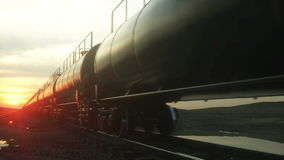 Freight train oil tankers. Against Sunrise. Realistic cinematic 4k animation. Freight train oil tankers. Against Sunrise. Realistic cinematic 4k animation stock video footage