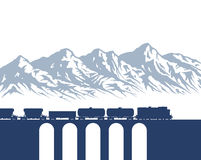 Freight Train over mountains Royalty Free Stock Images