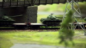 Freight train with panzer. Set of panzer transport by rail Loop ready File stock video footage