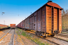 Freight train in the parking lot obsolete Royalty Free Stock Photos