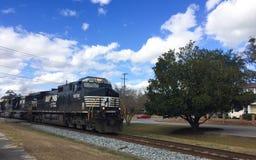 Freight Train. A freight train passes through Summerville, SC on its way to Charleston, SC Stock Photos