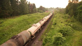 Freight train_02. Freight train passing the forest, top view stock video