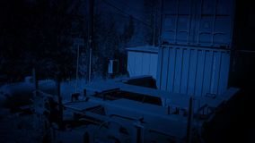Freight Train Passing At Night. Traveling past large containers on freight train stock video