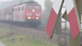 Freight train passing. In a rural misty autumn landscape behind a crossing junction traffic sign stock video