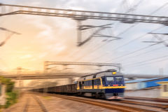 A freight train passing Royalty Free Stock Photo