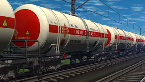 Freight train with petroleum tank cars Royalty Free Stock Images