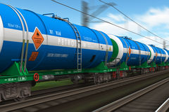 Freight train with petroleum tanker cars vector illustration
