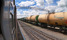 Freight train with tanker cars Royalty Free Stock Images