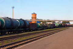Freight train with tanker cars Stock Photos