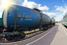 Freight train with tanker cars Royalty Free Stock Photo