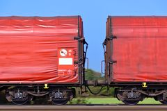 Freight train on rails Royalty Free Stock Photography