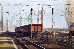 Freight Train Wagons Royalty Free Stock Images