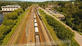 Freight train on the railway stock video