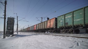 Freight train rides stock footage