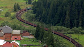 Freight Train rides through the forest timelapse stock video footage