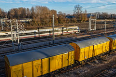 Freight train routes between Royalty Free Stock Images