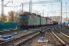 Freight train in Russia Stock Photo