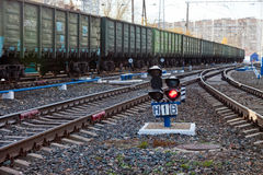 Freight train in Russia Royalty Free Stock Photo