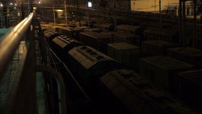 Freight Train at Sea Port in Odessa at Night stock footage