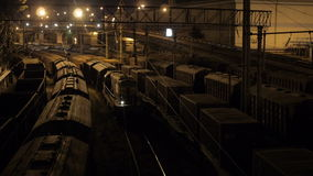 Freight Train at Sea Port in Odessa at Night stock video footage