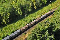 Freight train seen from above Stock Photo