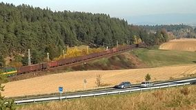 Freight train service in the country, stock footage