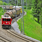 Freight train from St. Moritz. Royalty Free Stock Photos