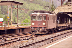Freight train stands on the station before departure. Stock Images