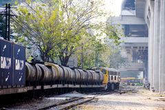 Freight train on station. A freight train with tank cars on a station Stock Image