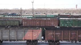 Freight train station stock footage