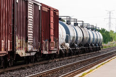 Freight train tanker cars in perspective Stock Images