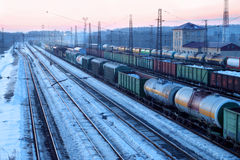 Freight train with tanks moves on railways Stock Photography