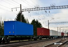 Freight train, transportation of railway cars by cargo containers  shipping. Railway logistics concept royalty free stock image