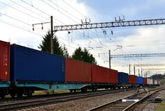 Freight train, transportation of railway cars by cargo containers  shipping. Railway logistics concept stock photo