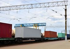 Freight train, transportation of railway cars by cargo containers  shipping. Railway logistics concept royalty free stock photos