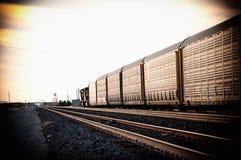 Freight train traveling Arizona desert. stock photo