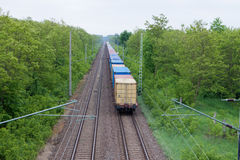 Freight train. Traveling on the horizon Royalty Free Stock Photography