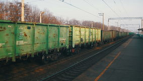 Freight Train Traveling on the Railroad stock footage