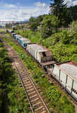 Freight train viewed from above Royalty Free Stock Photo