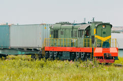 Freight train wagons with containers sorting station. Royalty Free Stock Photography
