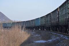 Freight train wagons on a winter frosty day Royalty Free Stock Photo