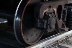 Freight train wheels on rails royalty free stock images