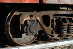 Freight train wheels on rails stock photo