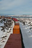 Freight train in winter Royalty Free Stock Photos