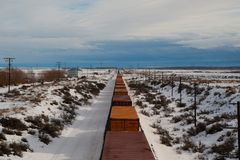 Freight train in winter Stock Images
