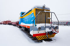 The freight train on the winter background Royalty Free Stock Images
