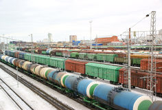 Freight trains. On winter railroad Stock Photography