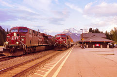 Freight trains in Banff. Stock Photos