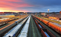 Freight trains - Cargo transportation. At night Royalty Free Stock Images