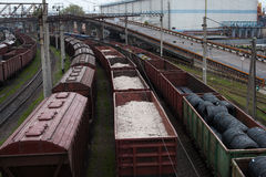 Freight trains on city cargo terminal. With cargo Stock Photo